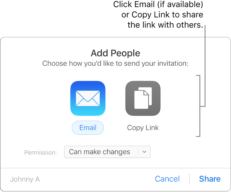 The Email and Copy Link buttons.
