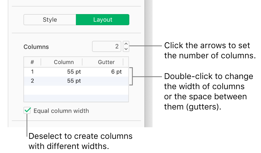 The text column controls in the Layout pane of the Format sidebar.