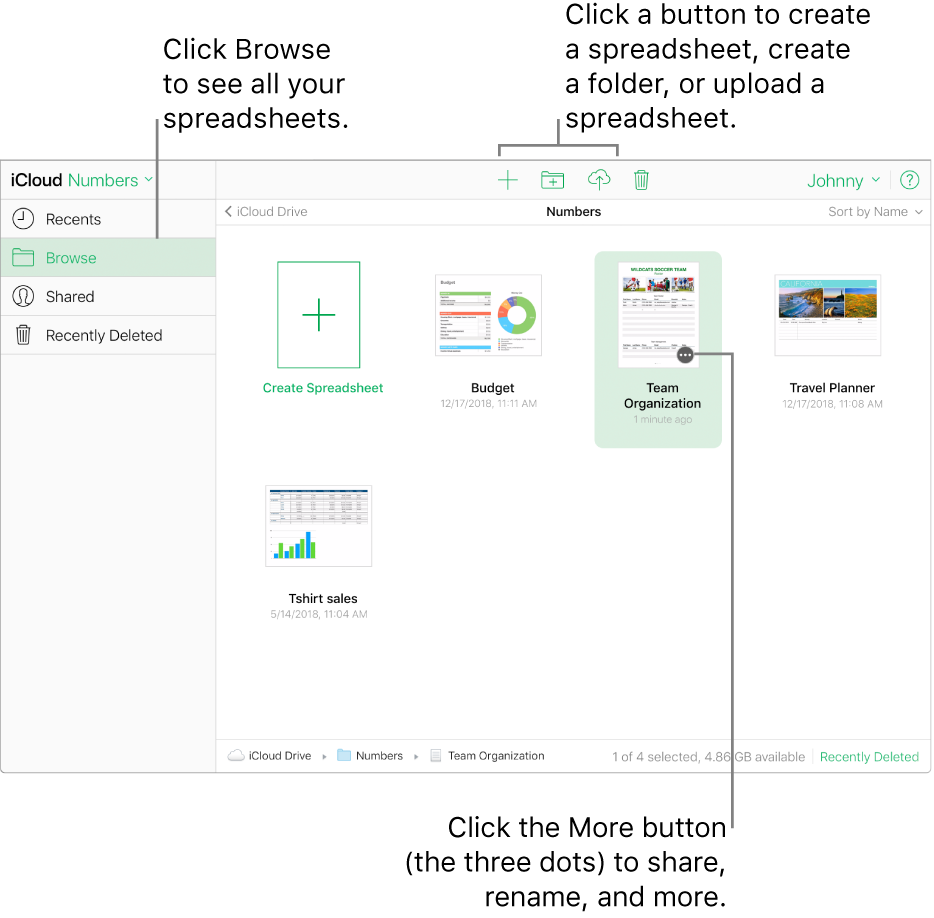 The spreadsheet manager in browse view. Callouts point to the More button on a spreadsheet, and the create new spreadsheet, new folder, and upload buttons in the toolbar.