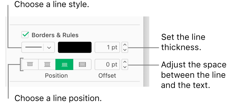 The Borders & Rules checkbox is selected in the Format sidebar, and controls to change the line style, thickness, position, and color of the line appear below the checkbox.