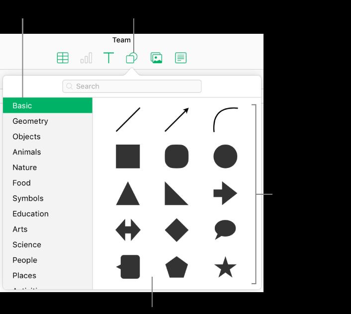 La bibliothèque de figures s'affiche sous le bouton Figure dans la barre d'outils. La catégorie Standard est sélectionnée à gauche et des figures courantes, telles que des cercles, des carrés et des lignes, s'affichent à droite.