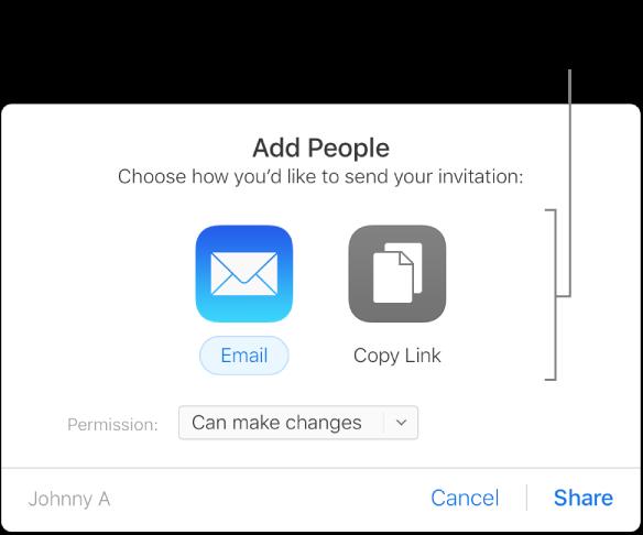 Les boutons E-mail et Copier le lien.
