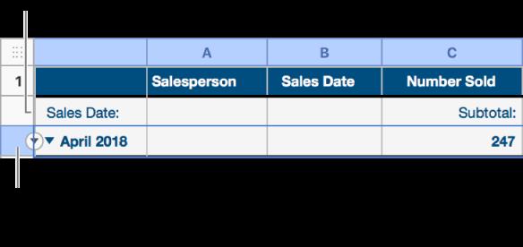 Le rang de résumé est sélectionné dans un tableau trié par catégories et une flèche vers le bas apparaît sur sa bordure. Le rang d'étiquette situé au-dessus du rang de résumé indique le nom de la catégorie au-dessus du nom du groupe, ainsi que le nom d'une fonction, le sous-total, dans la troisième colonne.