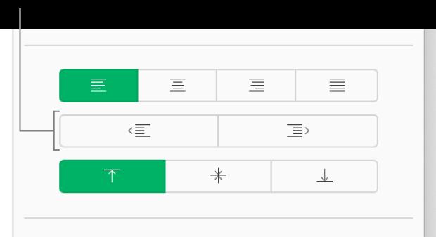 Boutons d'indentation et de retrait dans la barre latérale Format.