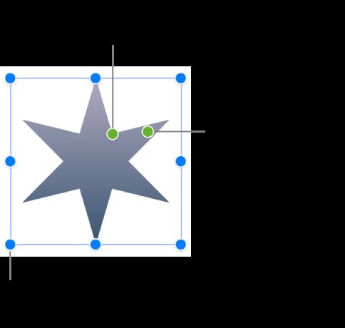 Une figure en forme d'étoile sélectionnée, avec deux points verts à faire glisser pour modifier le nombre de branches et leur largeur.