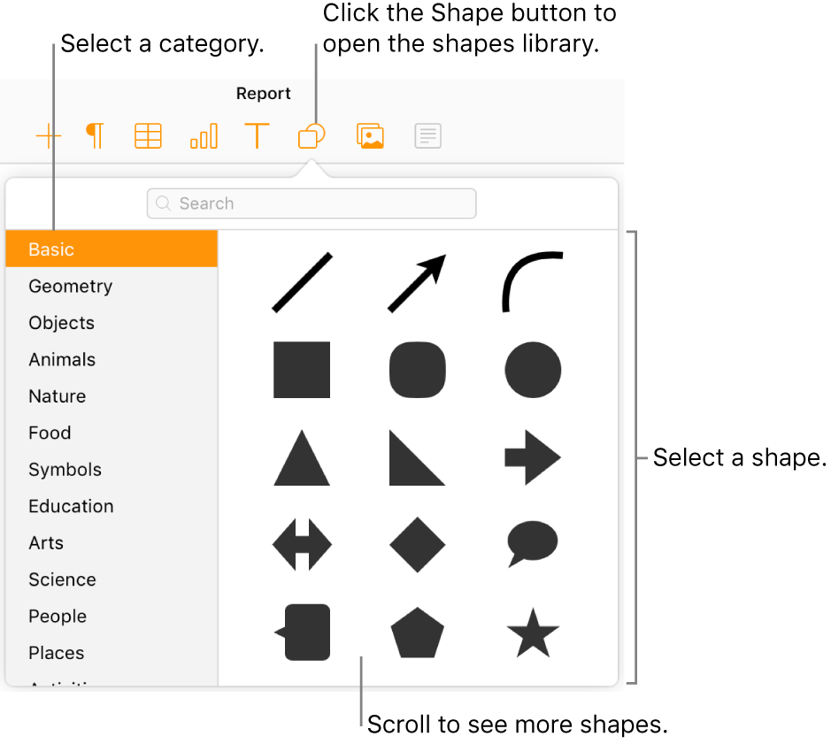 The shapes library is open below the Shape button in the toolbar. The Basic category is selected on the left, and some common shapes (including circles, squares, and lines) are displayed on the right.