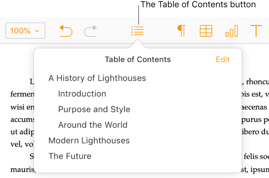 The Table of Contents button in the toolbar; the table of contents is open and has two entries, the title of the document and the Introduction heading.