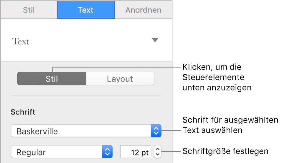 """Steuerelemente im Abschnitt """"Stil"""" der Seitenleiste """"Format"""" zum Festlegen der Schrift und der Schriftgröße."""