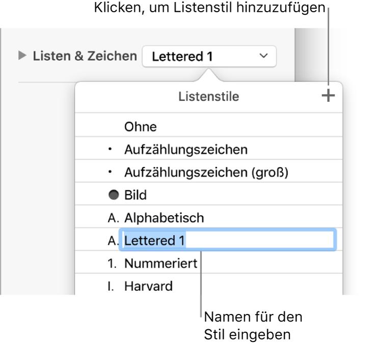 """Das Einblendmenü """"Listenstile"""" mit der Taste """"Hinzufügen"""" in der oberen rechten Ecke und einem Platzhalter für den Stilnamen, dessen Text ausgewählt ist."""