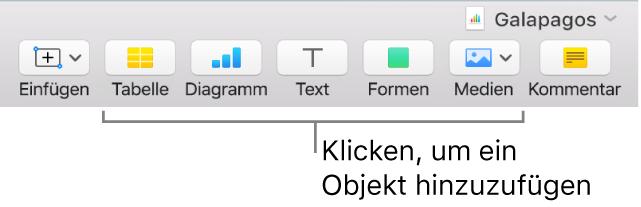 Numbers-Fenster mit Beschreibungen für die Tasten in der Symbolleiste.