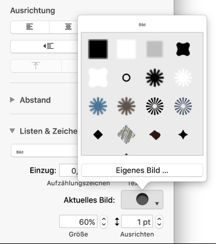 Das Einblendmenü für Aufzählungspunkte mit Bildern
