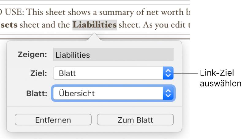 """Der Link-Editor mit einem Feld """"Anzeigen"""", dem Einblendmenü """"Link"""" (""""Blatt"""" ist ausgewählt) und dem Einblendmenü """"Blatt"""" (ein Blatt namens """"Übersicht"""" ist ausgewählt). Die Tasten """"Entfernen"""" und """"Zum Blatt"""" befinden sich unten im Popover."""
