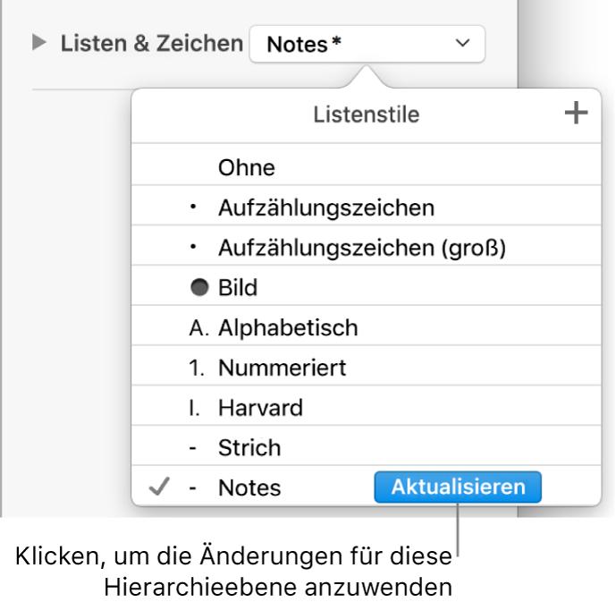 """Das Einblendmenü """"Listenstile"""" mit der Taste """"Aktualisieren"""" neben dem Namen des neuen Stils."""