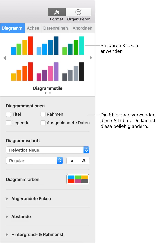Formatierungsseitenleiste mit Steuerelementen zum Formatieren von Diagrammen