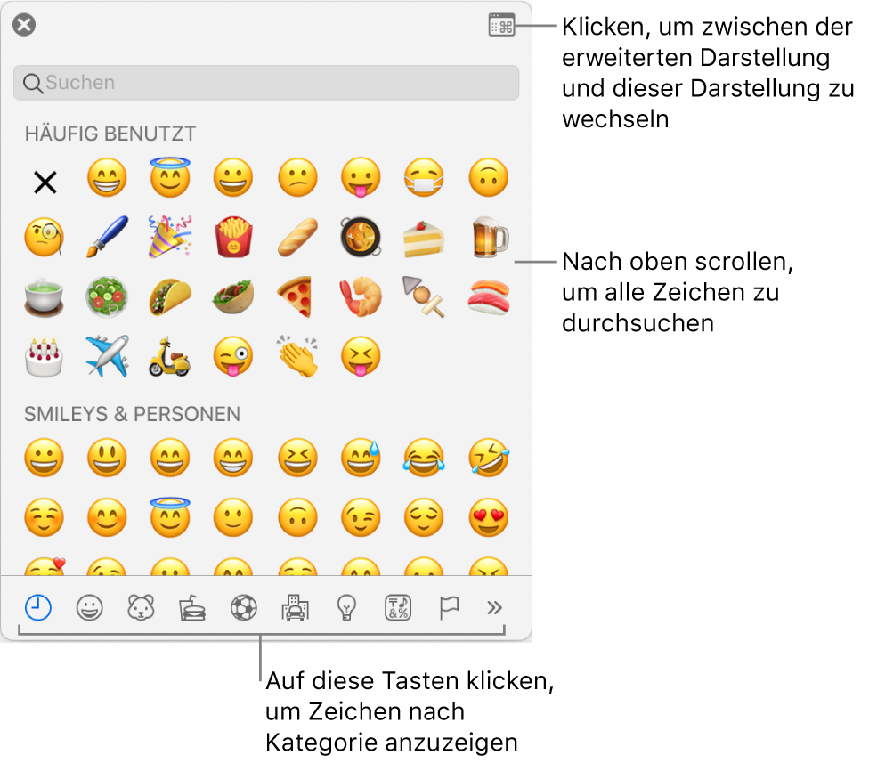 """Das Einblendmenü """"Sonderzeichen"""" mit Emoticons, Tasten für die unterschiedlichen Symbolarten am unteren Fensterrand und einer Beschreibung der Taste, mit der das vollständige Fenster """"Zeichen"""" eingeblendet werden kann"""