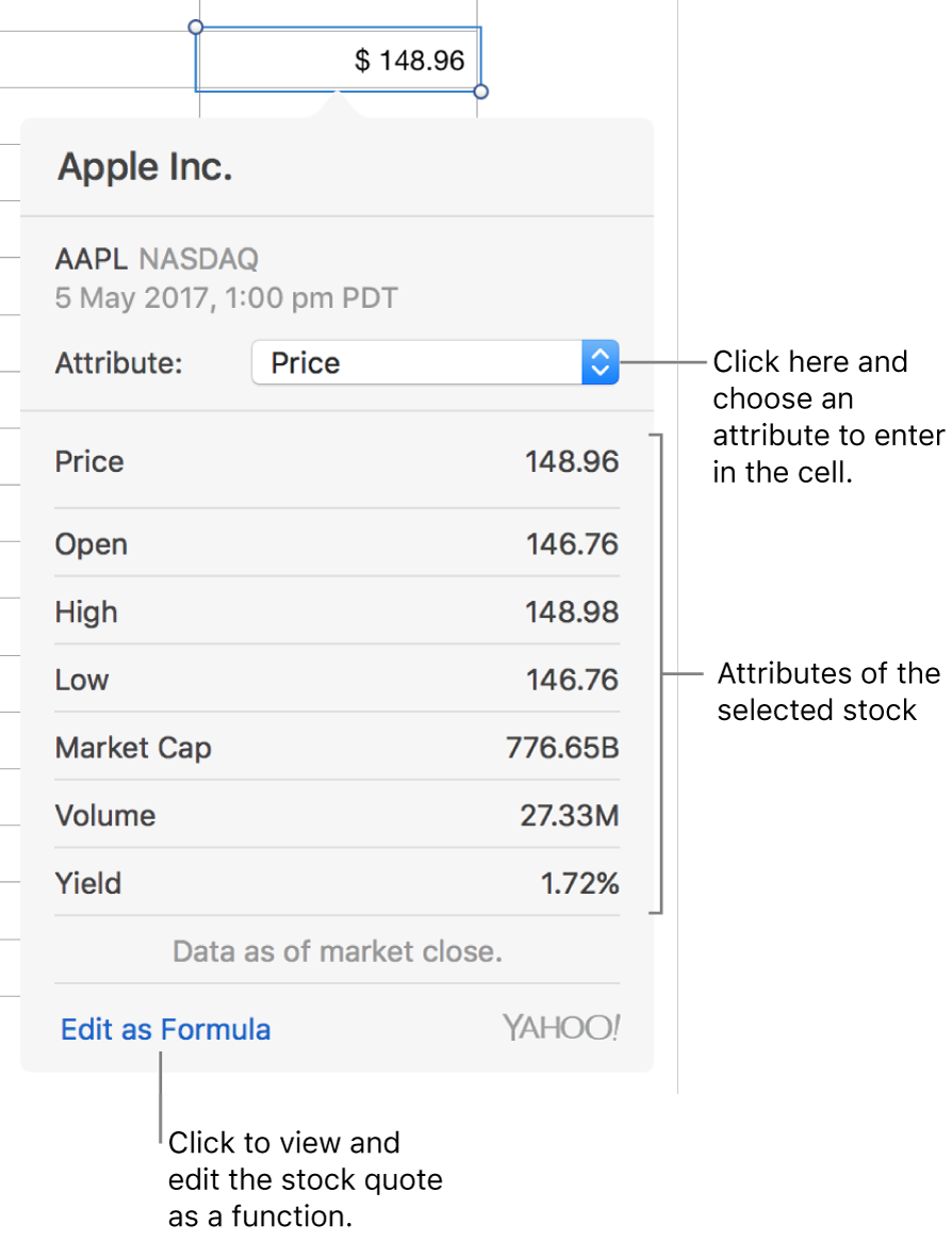 The dialogue for entering stock attribute information, with Apple as the selected stock.