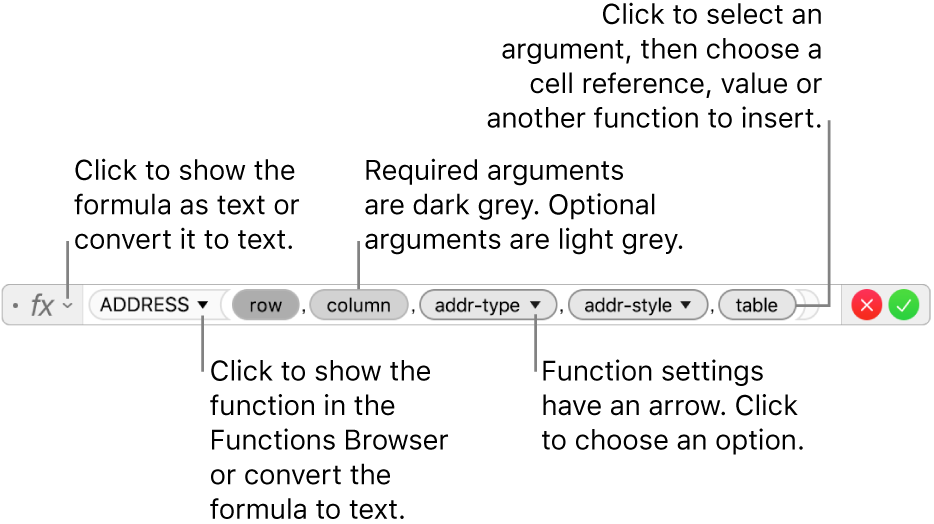 The formula editor showing the ADDRESS function and its arguments tokens.