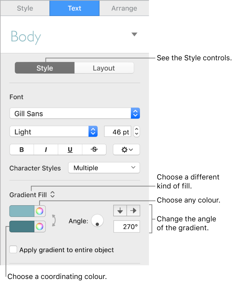 Text sidebar, showing how to change the colour of text.