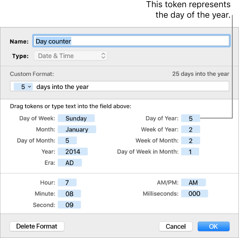 Custom date and time cell format.