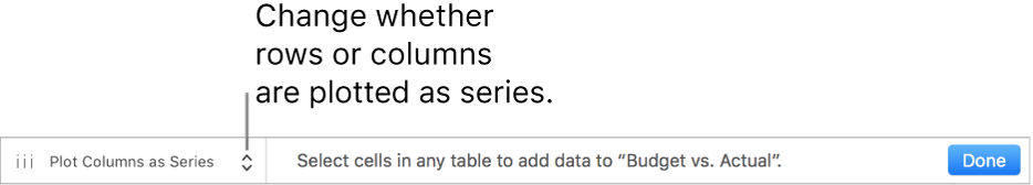 A pop-up menu for choosing whether to plot rows or columns as series.