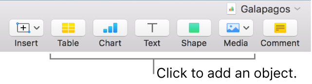 The Numbers window with callouts to the object buttons in the toolbar.
