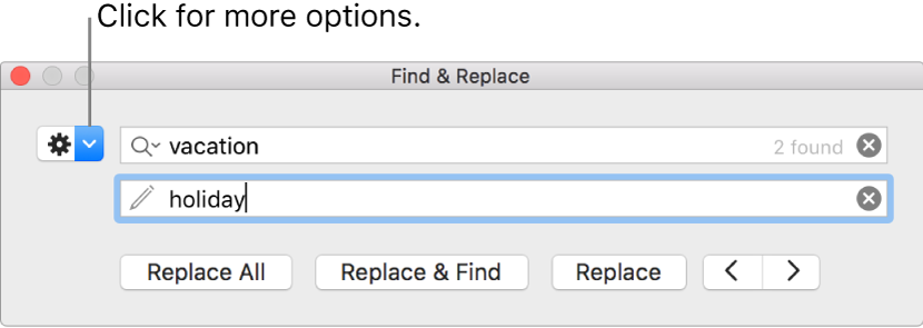 The Find & Replace window with a callout to the button to show more options.