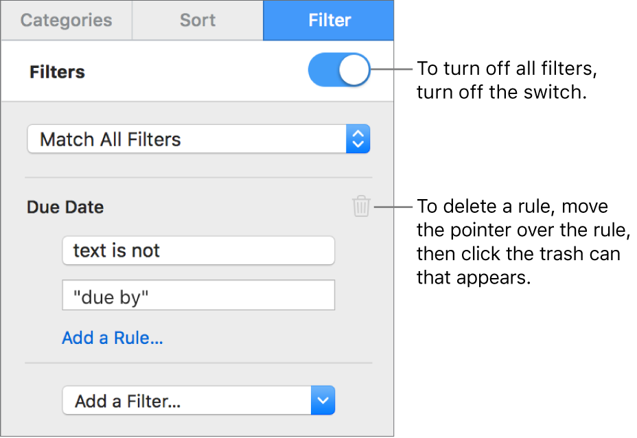 Controls for deleting a filter or turning off all filters.