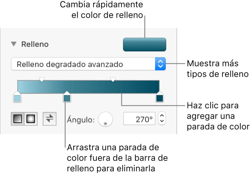 Controles para rellenar objetos con colores.