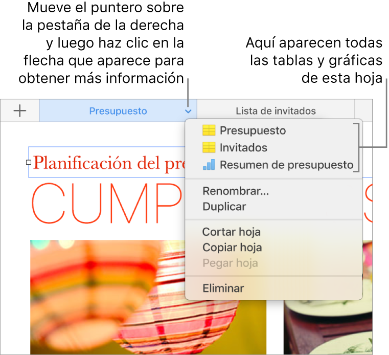 Una pestaña de hoja de cálculo con el menú de función rápida abierto, donde se muestran opciones como Duplicar.