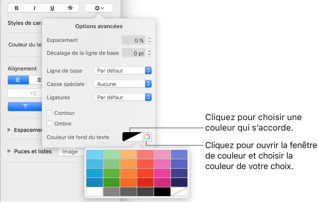 Commandes de sélection de remplissage de caractères.