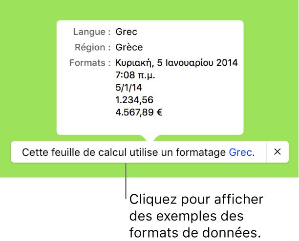 La notification du réglage de langue et de région différents, qui affiche des exemples de la mise en forme correspondant à cette langue et à cette région.
