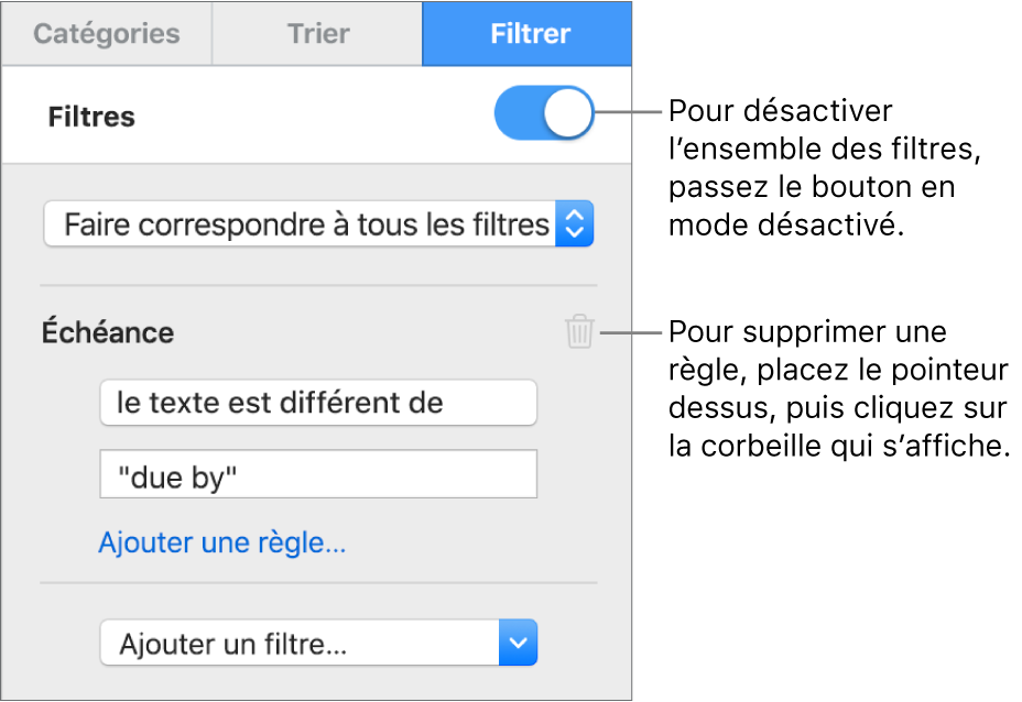 Commandes de suppression d'un filtre ou de désactivation de tous les filtres.