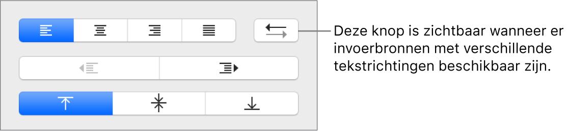 De knop voor de alinearichting in het gedeelte 'Uitlijning' van de navigatiekolom 'Opmaak'.