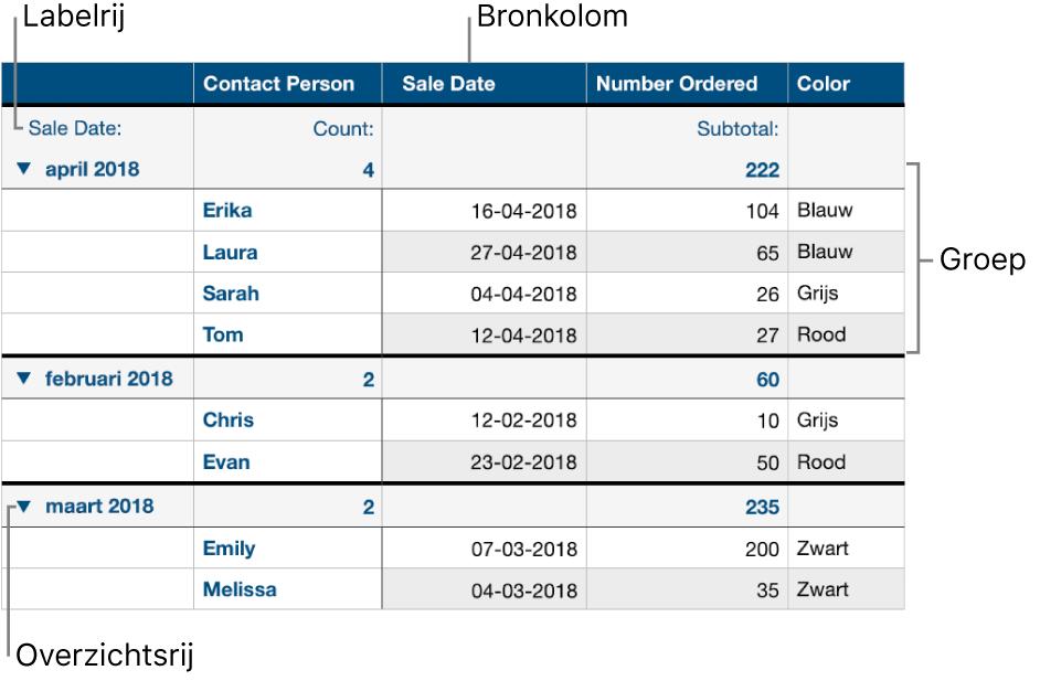 Een gecategoriseerde tabel met de bronkolom, groepen, overzichtsrij en labelrij.