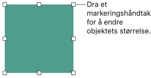Et objekt med hvite firkanter på kantlinjen for endring av objektets størrelse.