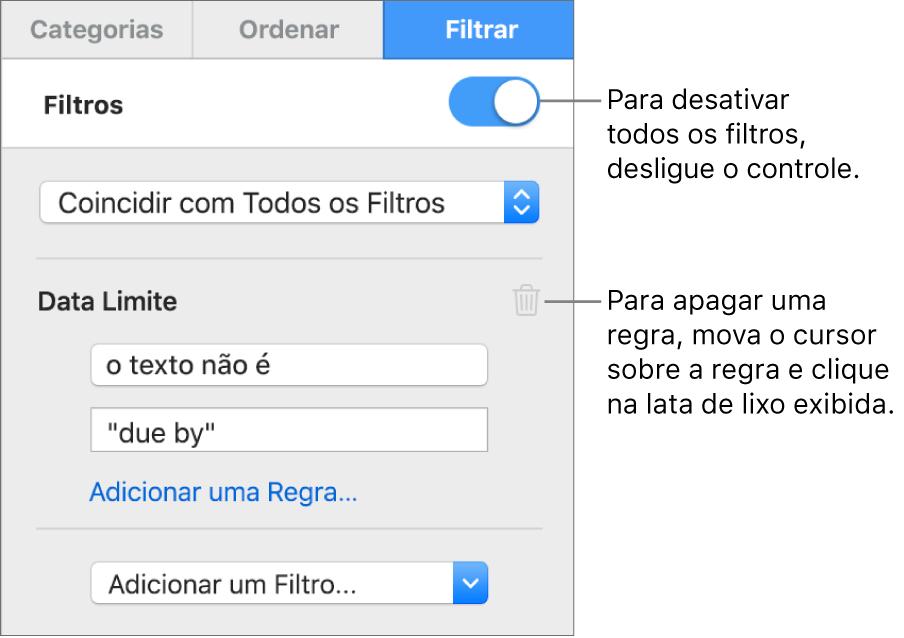 Controles para apagar um filtro ou desativar todos os filtros.