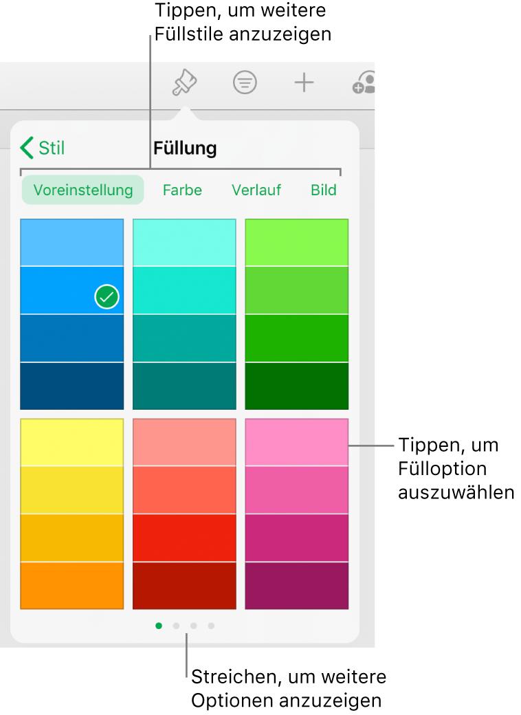 """Fülloptionen im Tab """"Stil"""" des Menüs der Taste """"Format"""""""
