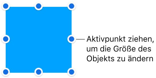 Ein Objekt mit blauen Punkten am Rahmen zum Ändern der Objektgröße