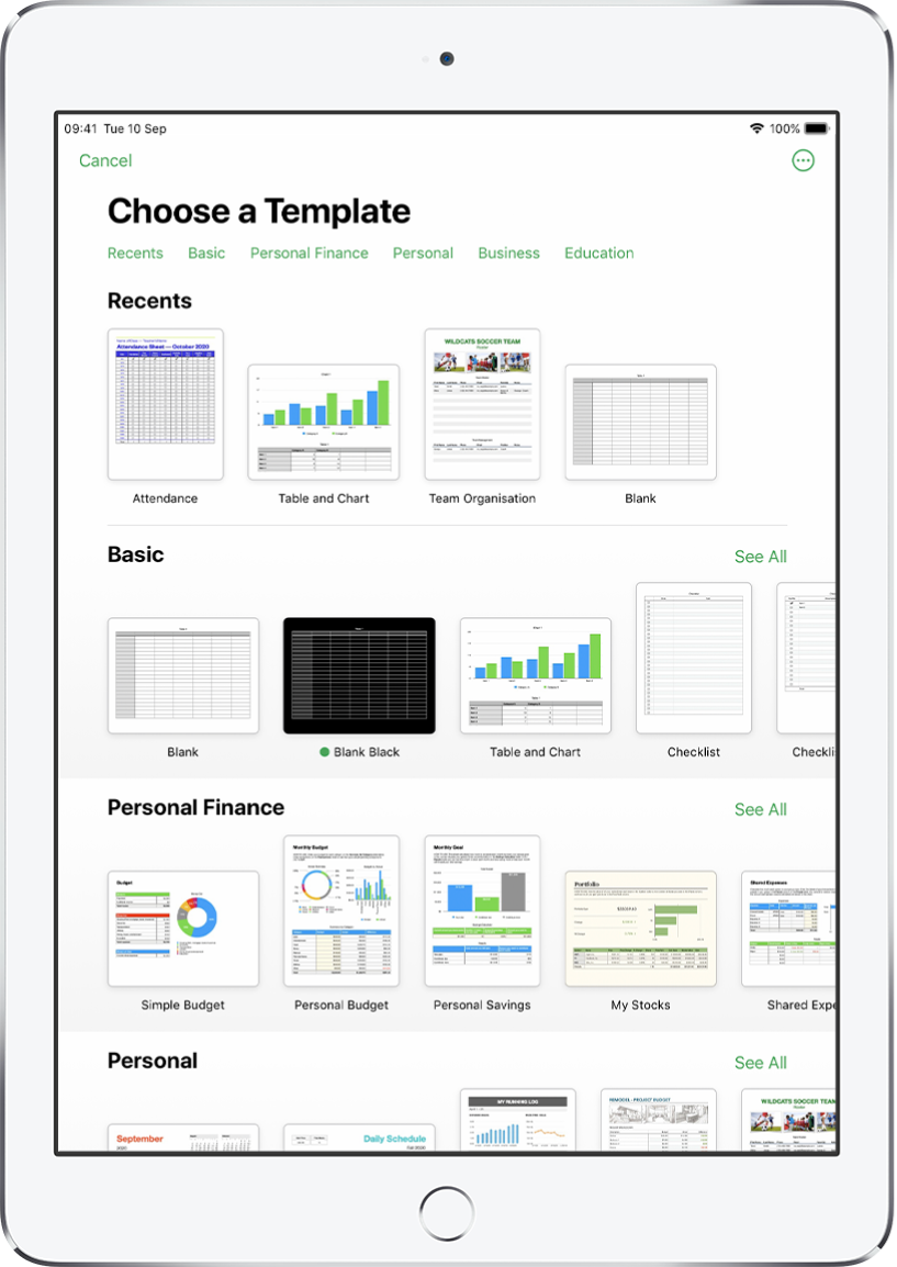 The template chooser, showing a row of categories across the top that you can tap to filter the options. Below are thumbnails of predesigned templates arranged in rows by category, starting with Recents at the top and followed by Basic and Personal Finance. A See All button appears above and to the right of each category row. The Language and Region button is in the top-right corner.