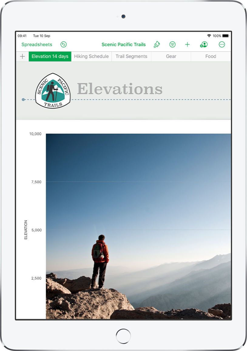A spreadsheet tracking hiking information, showing sheet names near the top of the screen. The Add Sheet button is on the left, followed by sheet tabs for Elevation, Hiking Schedule, Trail Segments, Gear and Food.