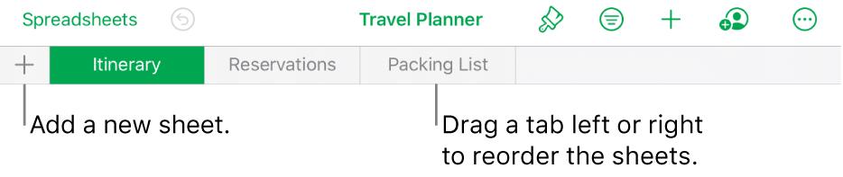 The tab bar for adding a new sheet, navigating, reordering, and reorganizing sheets.