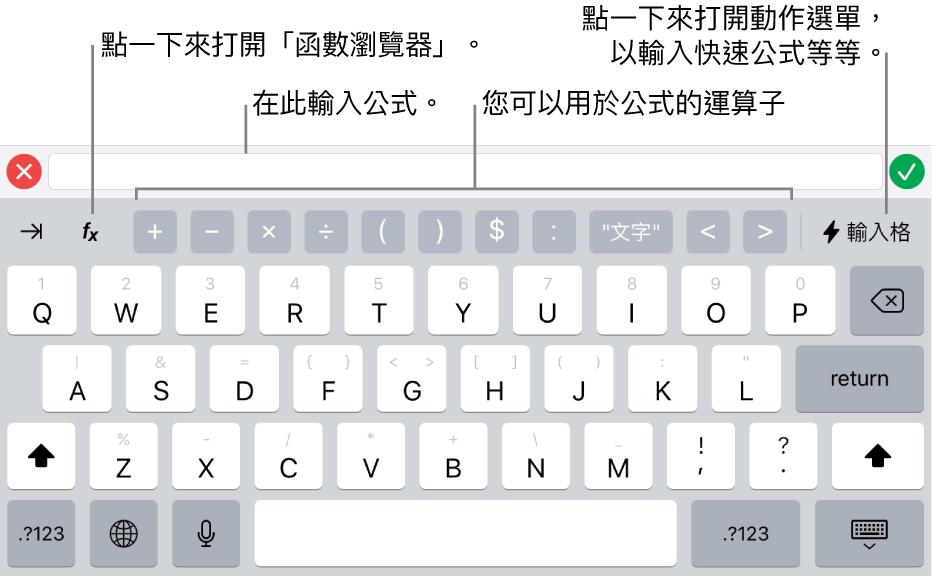 公式鍵盤,最上方是公式編輯器,下方是用於公式的運算子。用於開啟「函數瀏覽器」的「函數」按鈕位於運算子左側,「動作」選單按鈕位於右側。