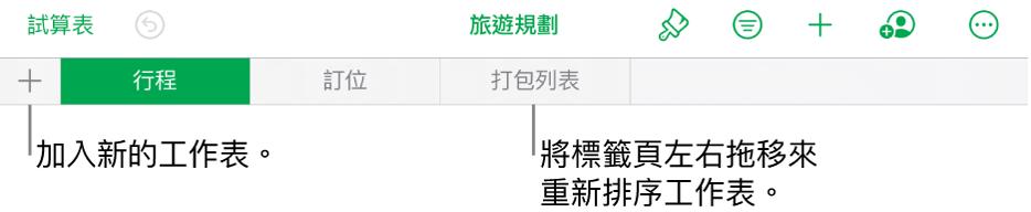 加入新工作表的標籤頁列,導覽、重新排列和重新整理工作表。