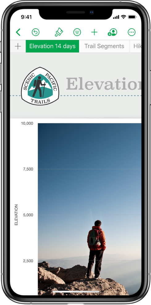 A spreadsheet tracking hiking information, showing sheet names near the top of the screen. The Add Sheet button is on the left, followed by sheet tabs for Elevation and Trail Segments.