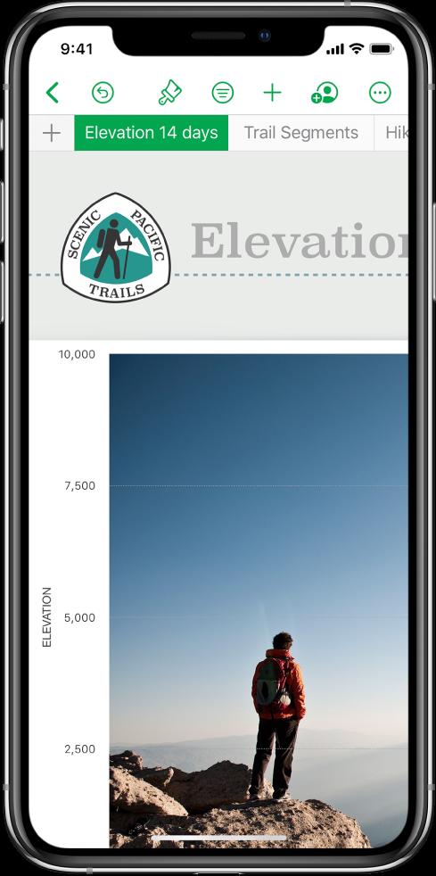 一份用於追蹤健行距離的試算表,螢幕靠近最上方顯示工作表名稱。「加入工作表」按鈕位於左側,後面是「海拔」和「健行排程」的工作表標籤頁。