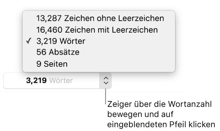 Das Popover für die Wortanzahl mit der Anzahl der Wörter im Dokument