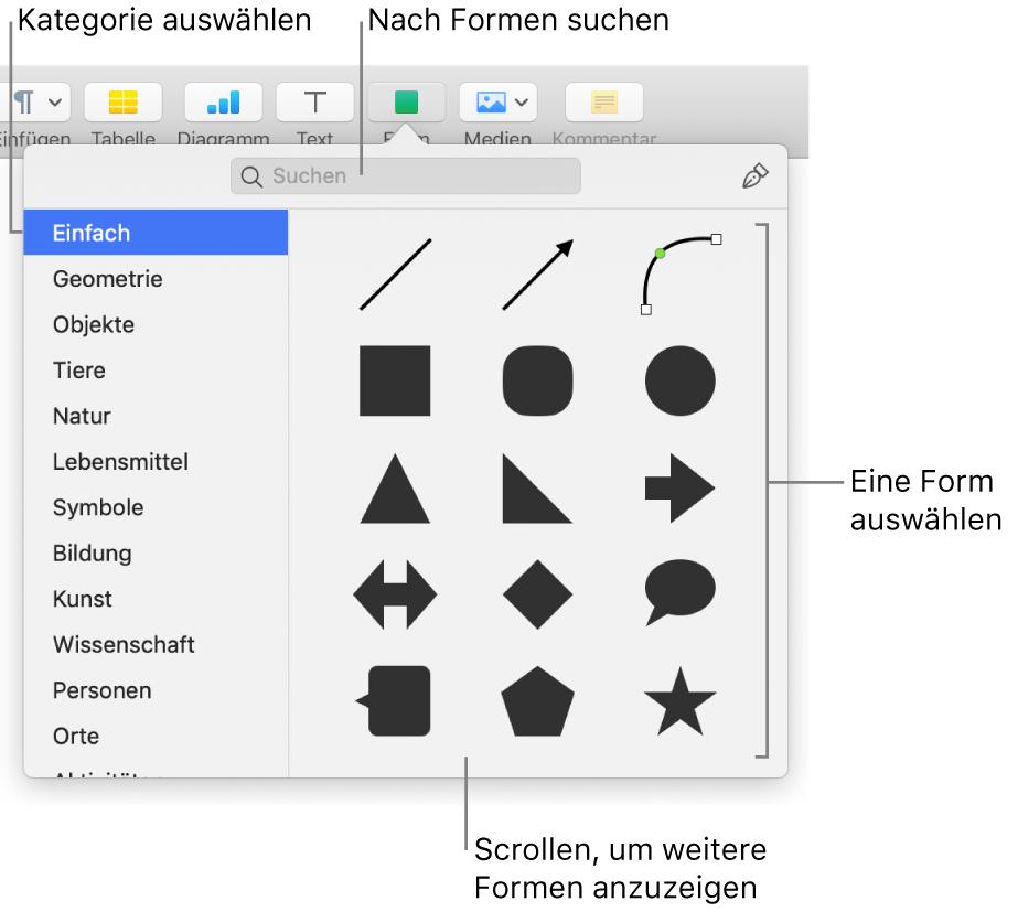 Die Formensammlung mit Kategorien auf der linken Seite und rechts angezeigten Formen Du kannst das oben angezeigte Suchfeld verwenden, um Formen zu finden. Durch Scrollen kannst du weitere Formen anzeigen.