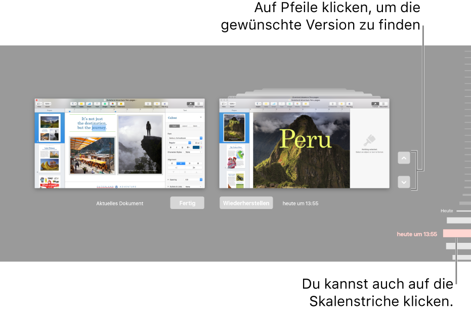 Die Zeitachse mit den Versionen mit dem aktuellen Dokument auf der linken und einer älteren Version auf der rechten Seite