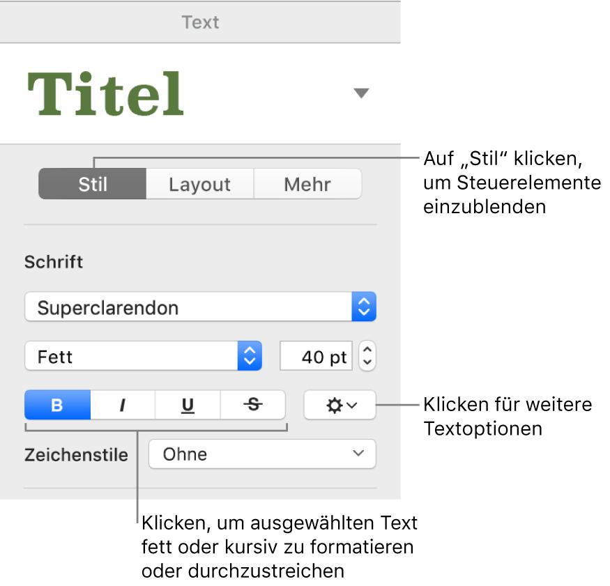 """Die Steuerelemente im Tab """"Stil"""" der Seitenleiste """"Format"""" mit Beschreibung für die Tasten """"Fett"""", """"Kursiv"""", """"Unterstrichen"""" und """"Durchgestrichen""""."""