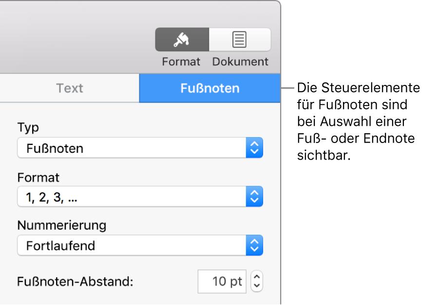 """Der Tab """"Fußnoten"""" mit Einblendmenüs für """"Typ"""", """"Format"""", """"Nummerierung"""" und den Abstand zwischen den Fußnoten"""